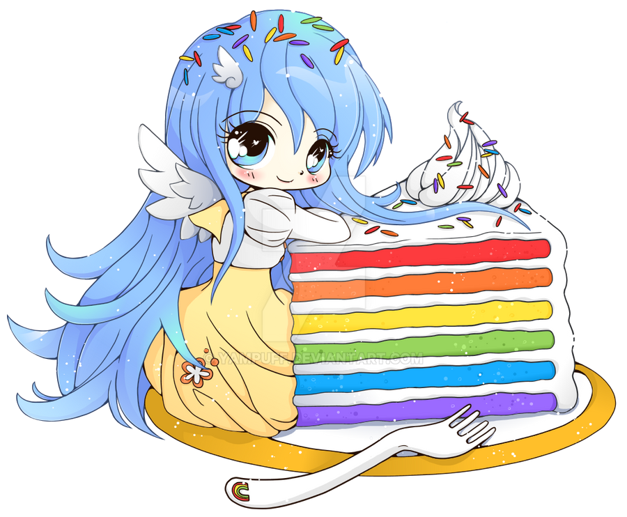 Rainbow Cake Luna - Chibi Commission by YamPuff