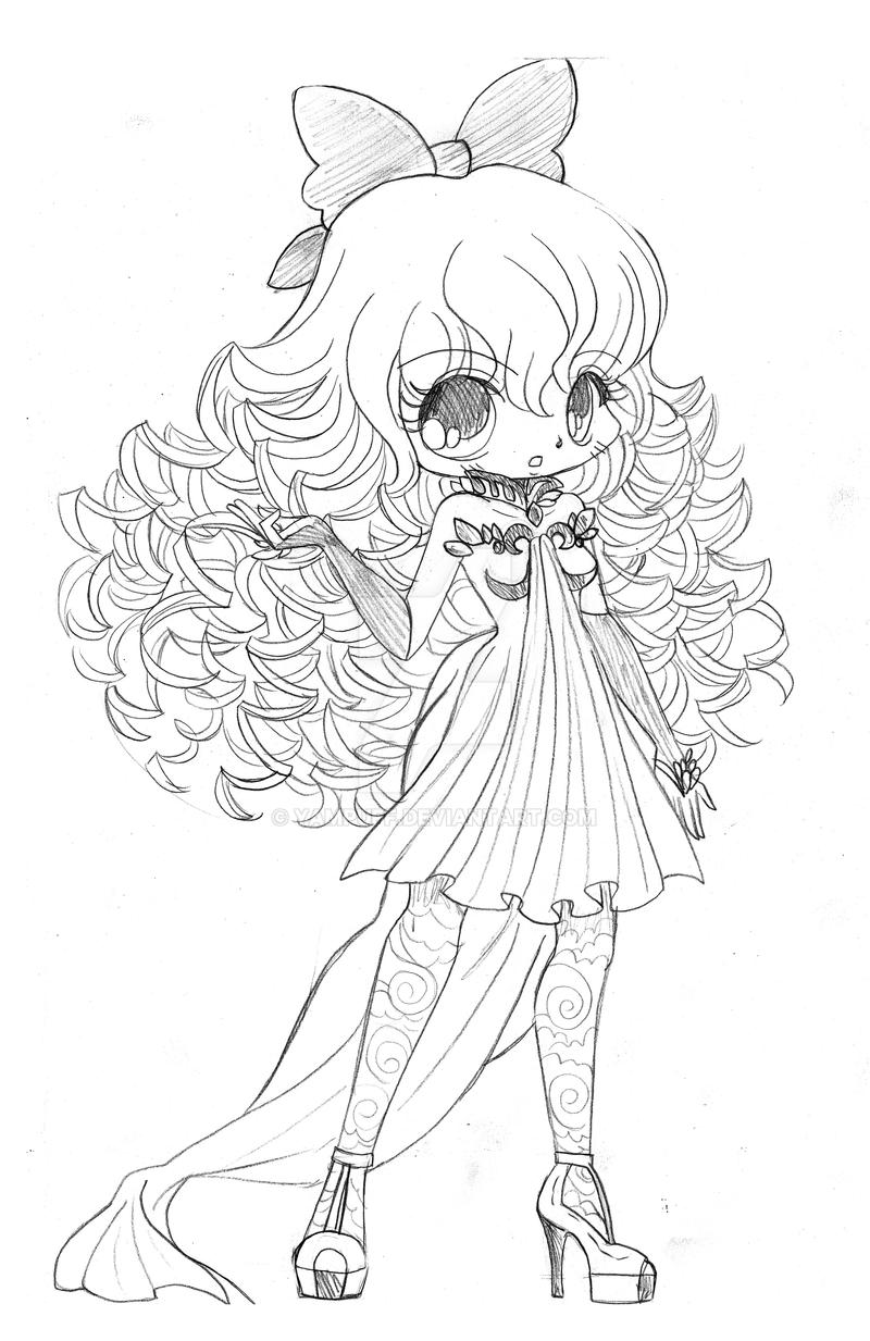 Curly haired Chibi Commission Sketch By YamPuff On