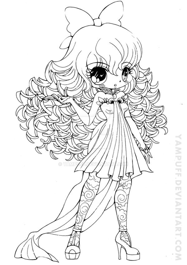 Curly Haired Girl Lineart By Yampuff On Deviantart