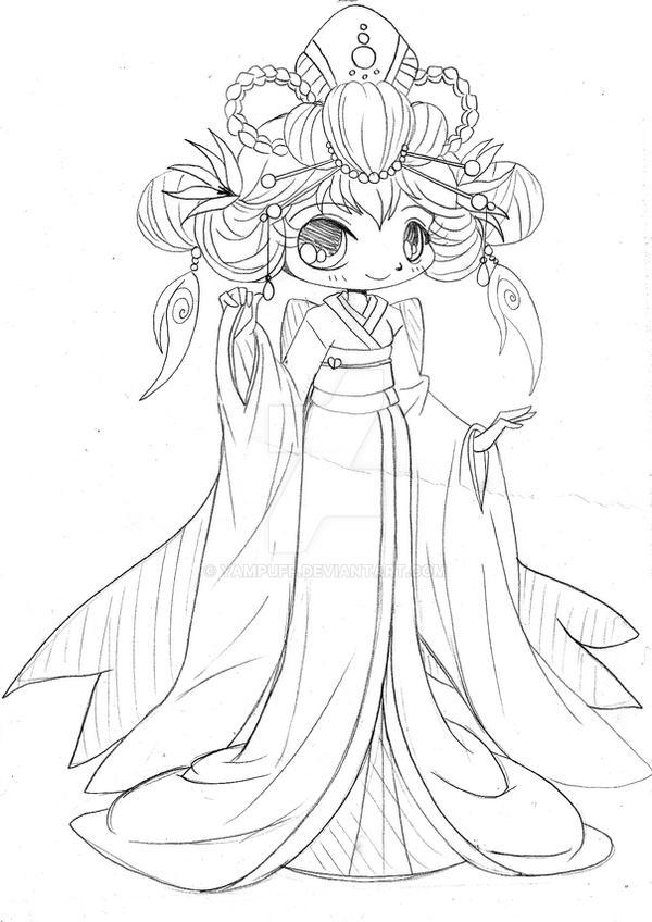 Yam Puff Chibi Kleurplaat Kimono Chibi Sketch By Yampuff On Deviantart