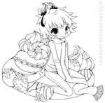 Strawberry Boy Chibi Commission - Lineart