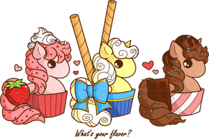 Cupcake Ponies: What's your flavor? by YamPuff