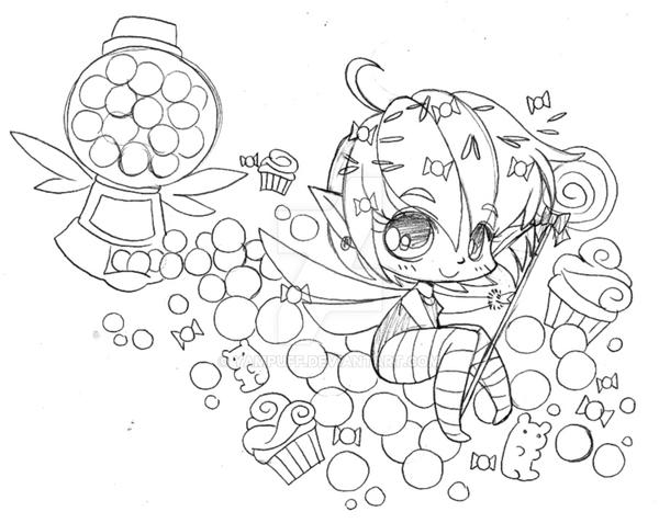 Yam Puff Chibi Kleurplaat Rainbow Candy Faerie Commission Sketch By Yampuff On
