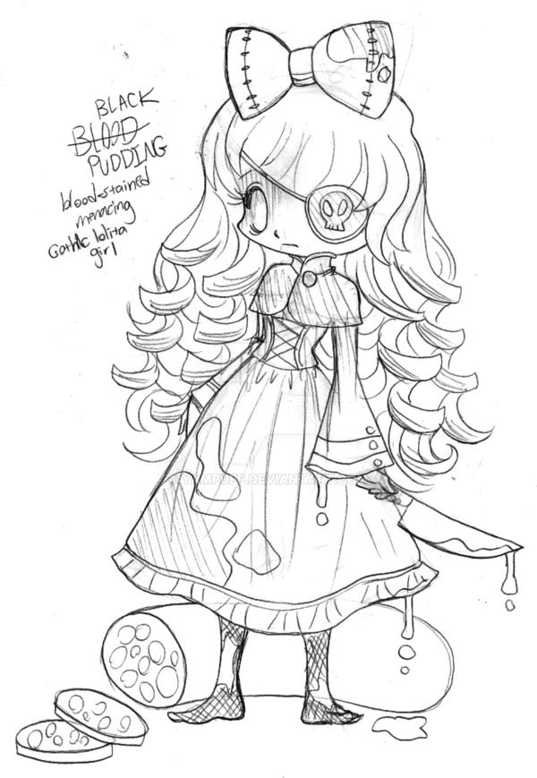 black pudding chibi commission sketch by yuff on