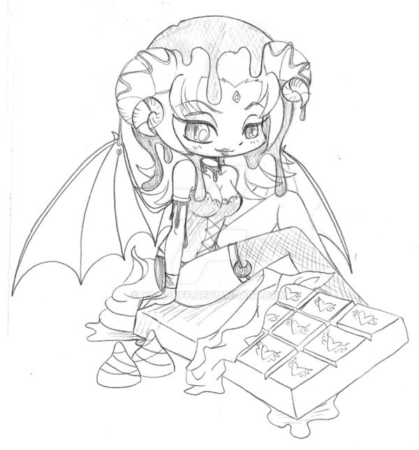 Yampuff Kleurplaten Dark Chocolate Succubus Commission Sketch By Yampuff On