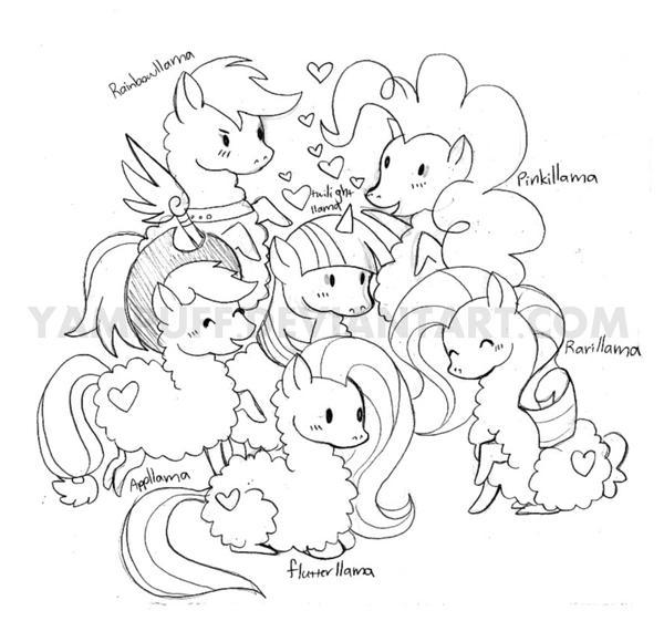 My Little Llamas - Llamas Are Magic (Sketch) by YamPuff