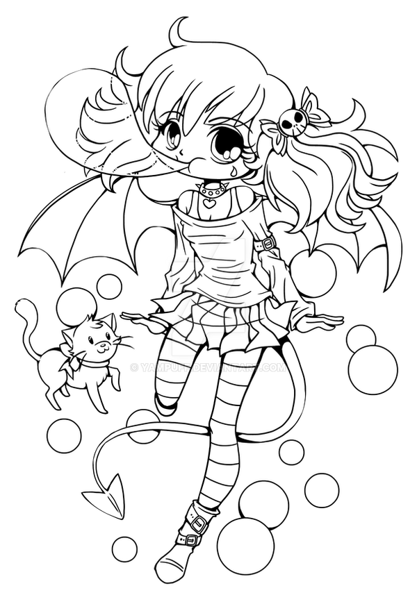 Bubblegum suka chibi lineart by yampuff on deviantart for Coloring pages anime chibi