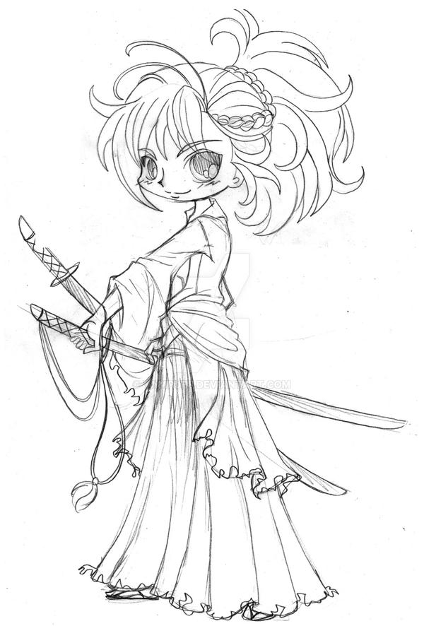 Yam Puff Kleurplaat Musashi Miyamoto Chibi Commission Sketch By Yampuff On