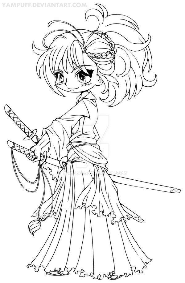 Real Princess Coloring Pages : Musashi miyamoto chibi lineart by yampuff on deviantart