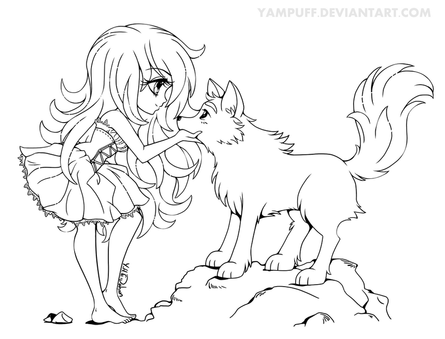 Chibi with Wolf - Lineart Commission by YamPuff on DeviantArt