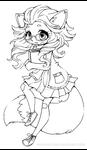 Fox Girl Chibi Lineart