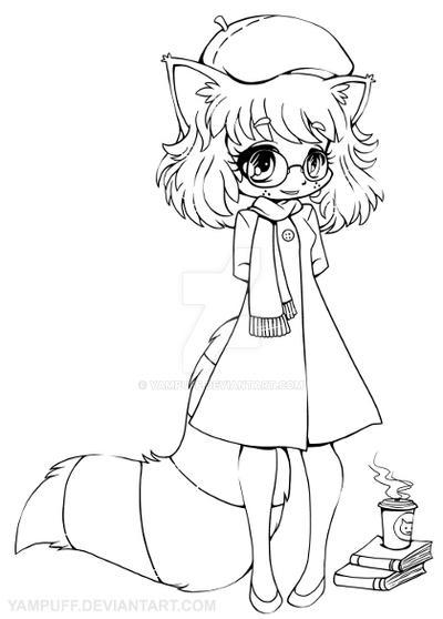 Raccoon Girl Chibi Lineart By Yampuff On Deviantart