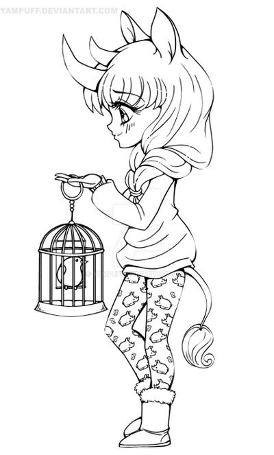 Yam Puff Kleurplaat Rhino Girl Lineart Commission By Yampuff On Deviantart