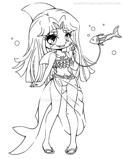 Shark girl lineart commission by yampuff on deviantart for Yampuff food coloring pages