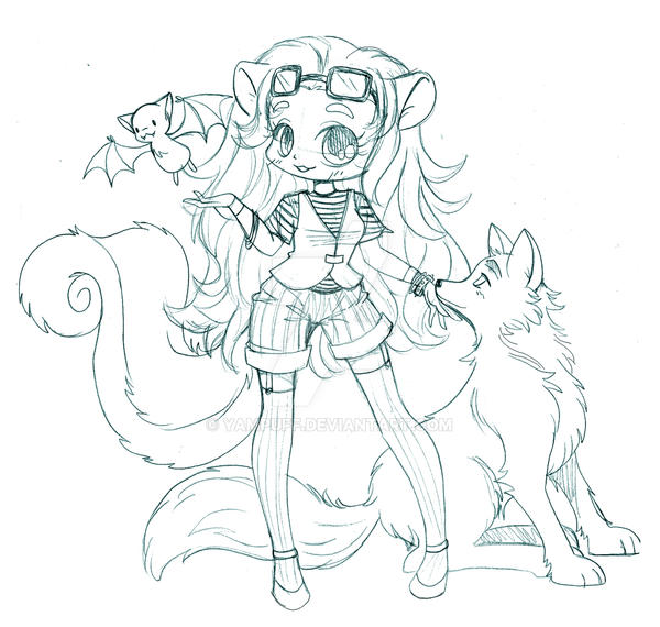 Skunk Girl With Wolf Commission Sketch By Yampuff On
