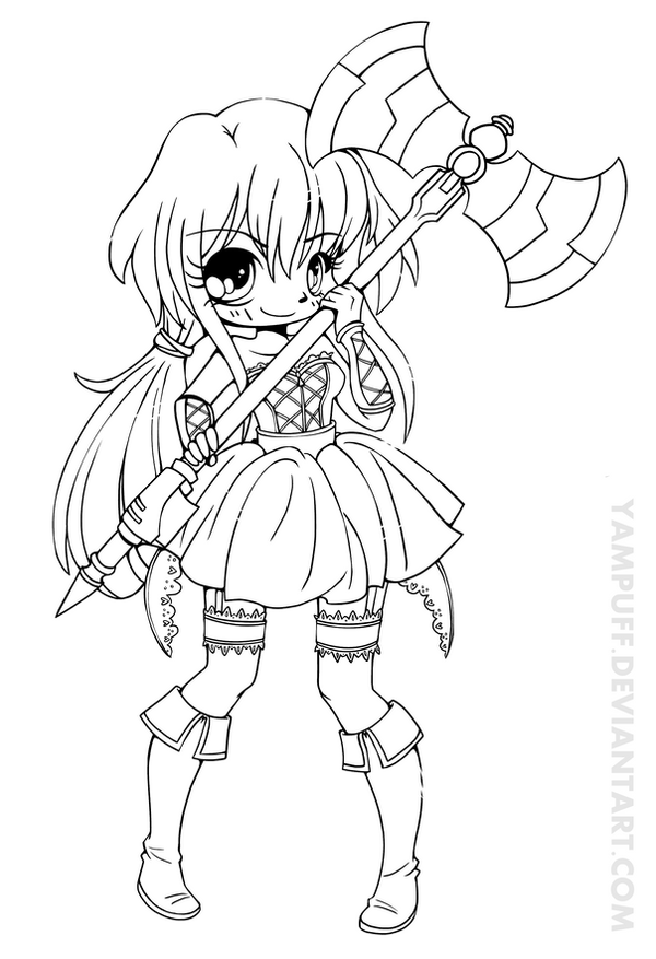 Vermillia chibi lineart commission by yampuff on deviantart for Anime girl coloring pages