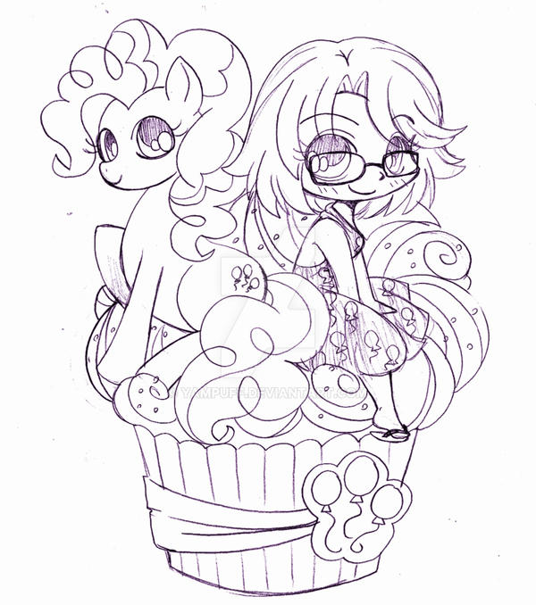 Chibi And Pinkie Pie Cupcake Commission By Yampuff On