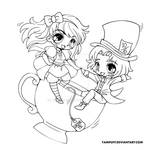 Alice and the Mad Hatter Lineart