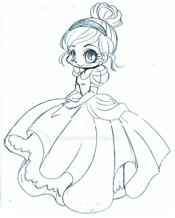 Cinderella Chibi Sketch By Yampuff On Deviantart
