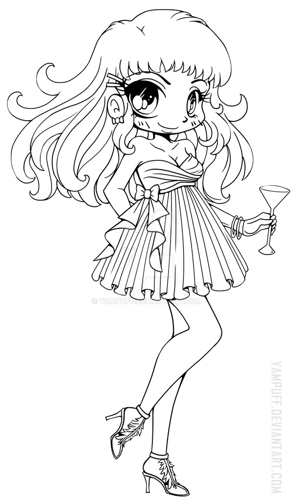 Naomi chibi lineart evening wear by yampuff on deviantart for Cute chibi coloring pages