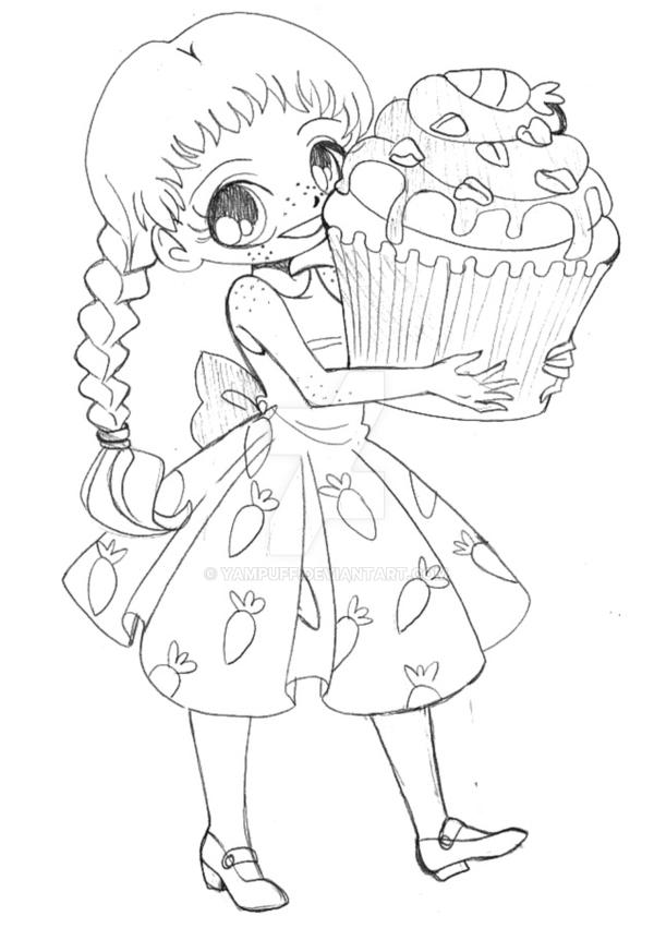 Volwassen Kleurplaat Person Carrot Cupcake Chibi Commission Sketch By Yampuff On