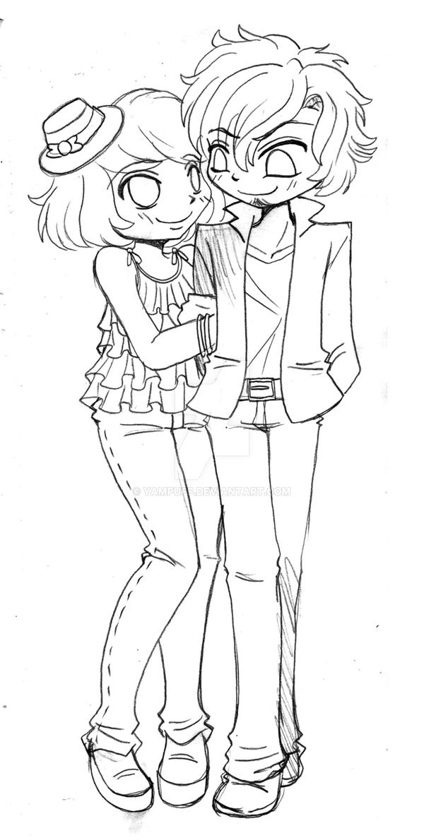 Chibi Couple Commission Sketch