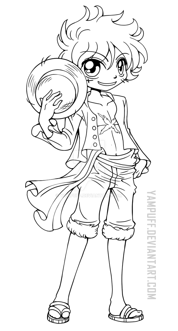Luffy Lineart : Luffy one piece lineart by yampuff on deviantart