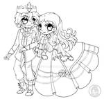 Prince Ice and Princess Ivy ::Open Lineart::