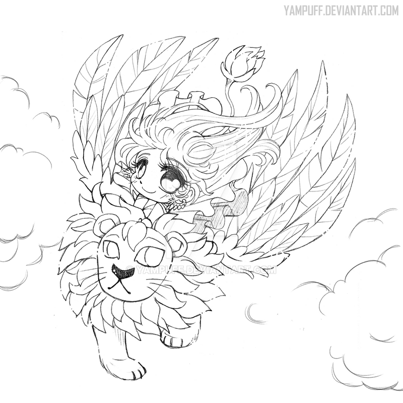 Yam Puff Chibi Kleurplaat The Winged Lion Open Lineart By Yampuff On Deviantart