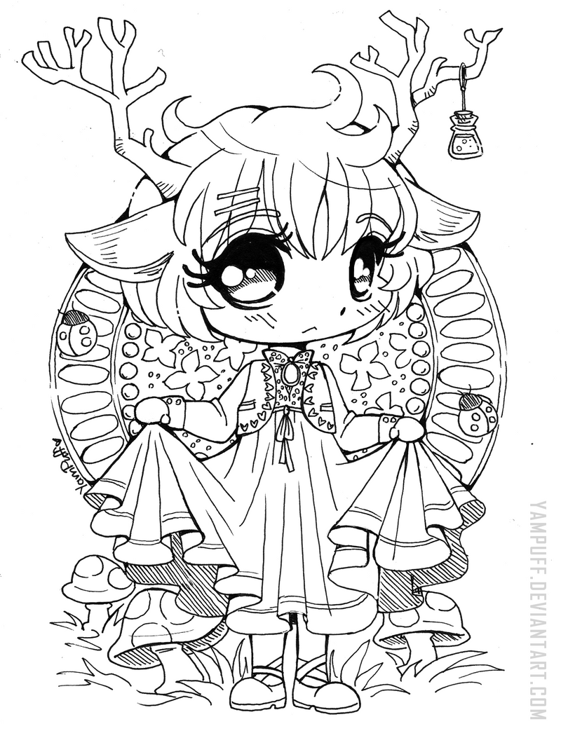 Drawing Lines Qml : Little deer chibi open lineart by yampuff on deviantart