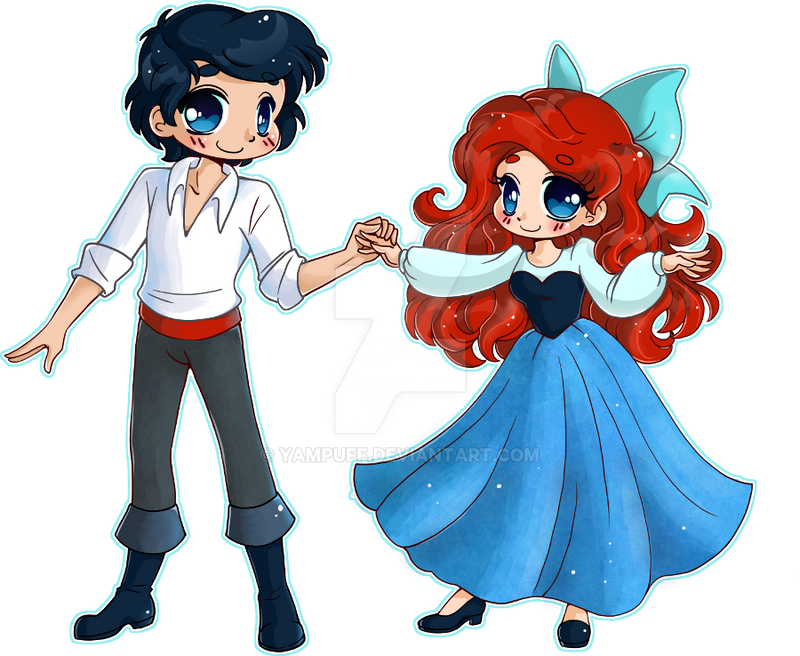 ariel and eric. Ariel and Eric  Chibi Commission by YamPuff on DeviantArt