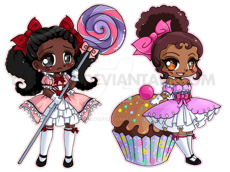 mini sweet chibi girls commission by yampuff on deviantart