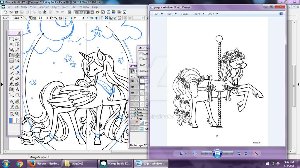 Carousel Coloring Book WIPs 4 By YamPuff