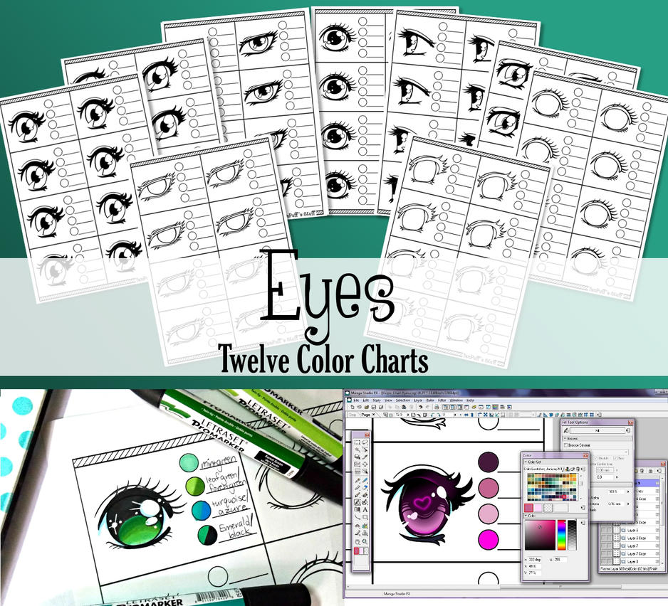 Eyes - 12 Printable Color Charts by YamPuff