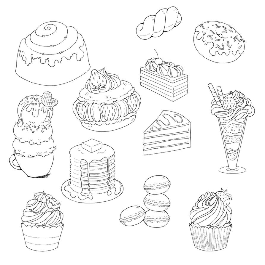 Sweets And Desserts Doodle Compilation By Yampuff On