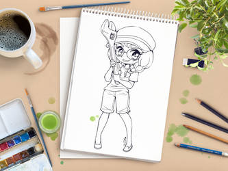 Wrench Girl Chibi Commission ::Open Lineart!!:: by YamPuff