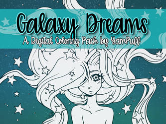 Galaxy Dreams Digital Coloring Pack by YamPuff by YamPuff