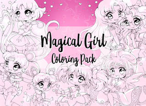 Magical Girl Digitial Coloring Pack on Etsy