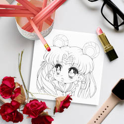 Sailor Moon Redraw Challenge - Free Coloring Page