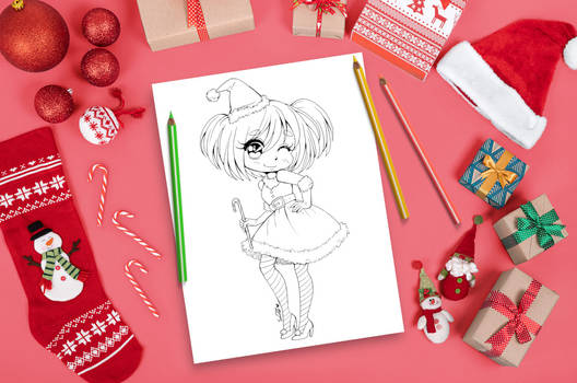 Festive Christmas Coloring Page by YamPuff
