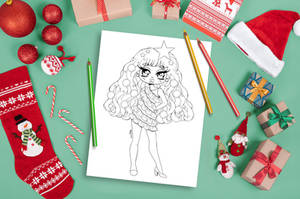 Christmas Tree Chibi Coloring Page by YamPuff