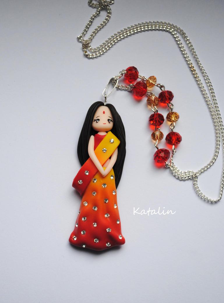 hindu doll pomymer clay fimo necklace by katalinhandmade on deviantart