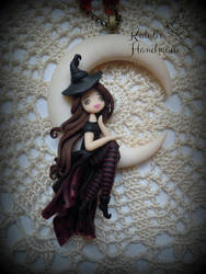 Polymer clay ooak doll Witch on the moon by KatalinHandmade