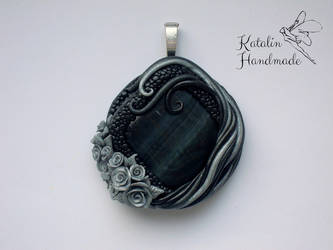 polymer clay fimo gothic pendant with roses by KatalinHandmade