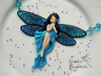 Polymer Clay Ooak Blue Dragonfly Fairy Chibi Doll  by KatalinHandmade