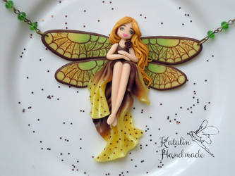 Polymer clay chibi doll spring dragonfly fairy by KatalinHandmade