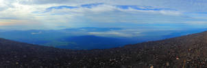 Magnificent panorama view from Mount Fuji