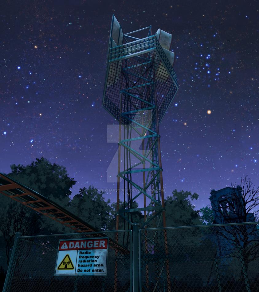 Anomaly - Radio tower night by anirhapsodist