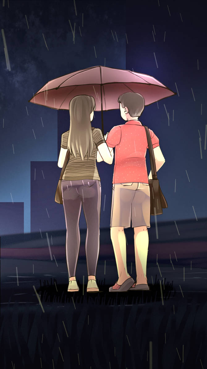 Couples in the rain
