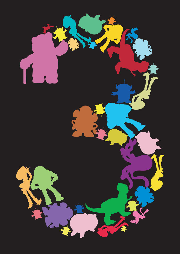 Toy Story Character Silhouettes Toy story 3 alternative poster Pixar Character Silhouettes